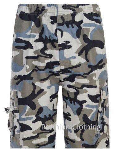 Boys 3//4 Elasticated Knee Length Shorts Cargo Combat Multi Pocket Three quarters