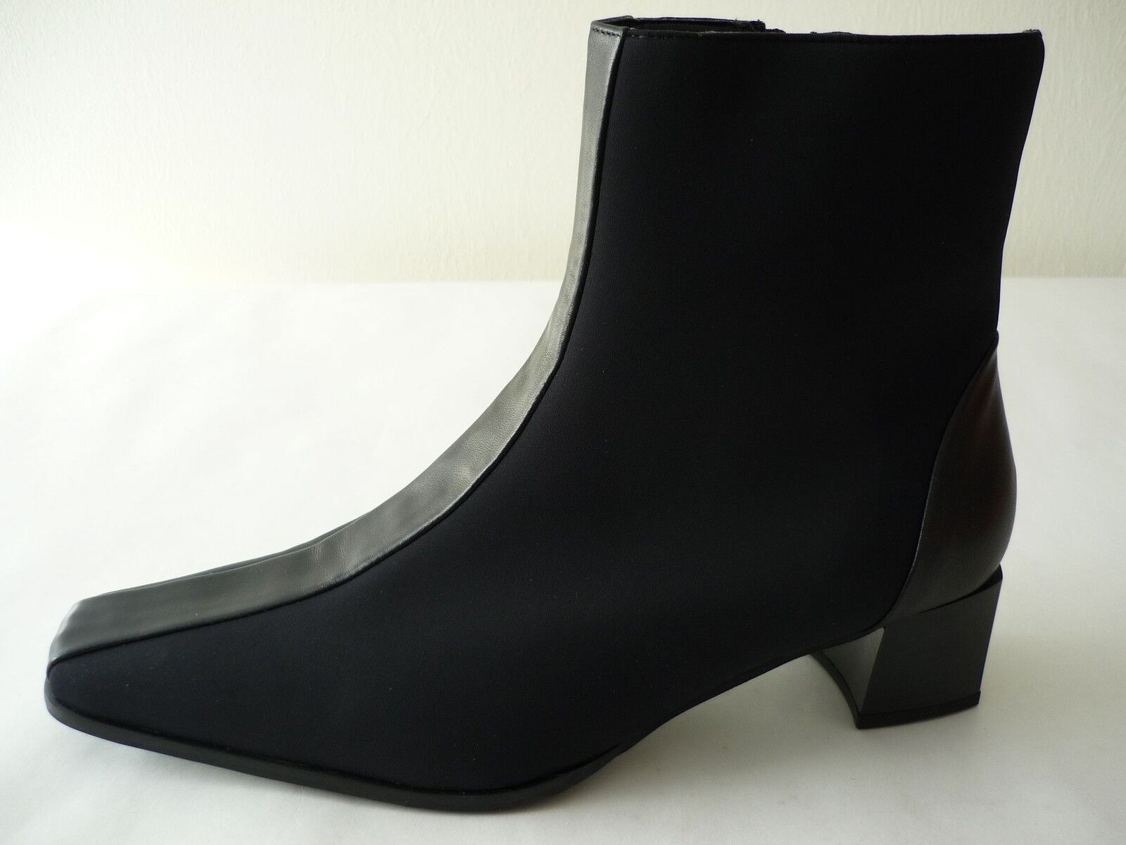 Piazza Ankle Boots 40 Leather Stretch Lightly Lined Black New