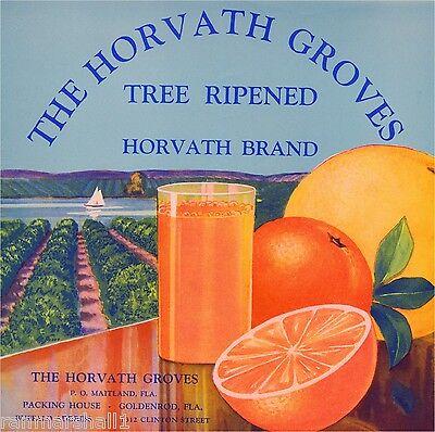 Maitland Florida Horvath Groves Orange Citrus Fruit Crate Label Art Print