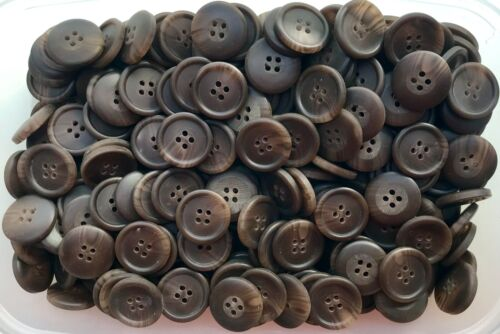 Large 23mm 36L Chocolate Brown Swirl 4 Hole Satin Coat Button Buttons Y103