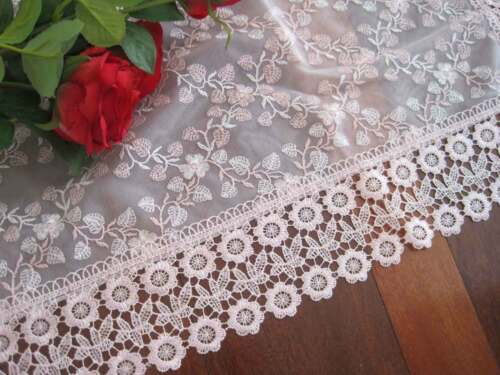 Beautiful Pink White Flower Embroidery Wide Lace Double Layer Gauze Sheer Topper