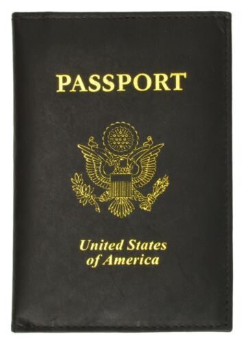 New USA Leather passport cover wallet Pass port case card ATM ID Holder BNWT