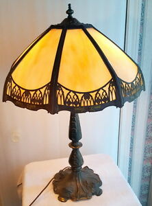 Antique Bent Slag Glass Table Lamp Ebay