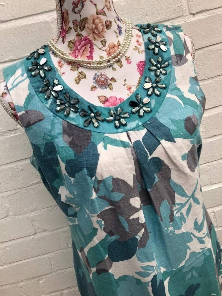 M&S Per Una Dress Linen Blend Teal Green White Floral Leaves Holiday Size 12 Reg