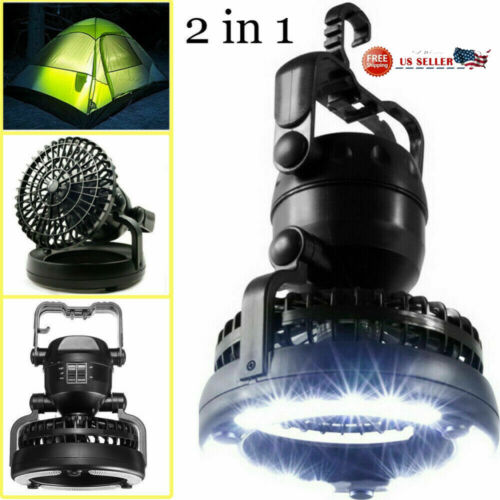 Portable Tent Fan LED Light Lamp Camping Hiking Outdoor Equipment Ceiling Fan US