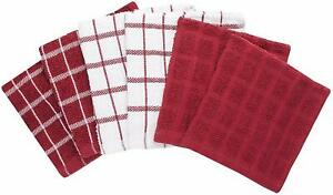 Be-Eco-Friendly-6-Pk-Red-Shabby-Chic-Cotton-12-034-x12-034-Terry-Kitchen-Dishcloths
