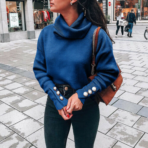 Womens Button High Neck Sweater Ladies Long Sleeve Knit Casual  Jumper Pullover