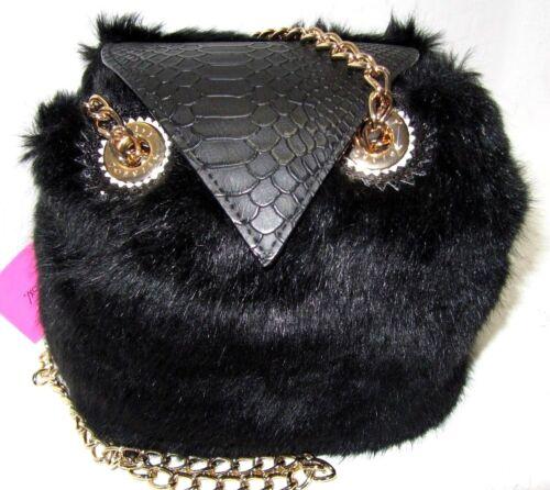Betsey Johnson Kitsch Give A Hoot Owl Crossbody Black Faux Fur Handbag NWT New