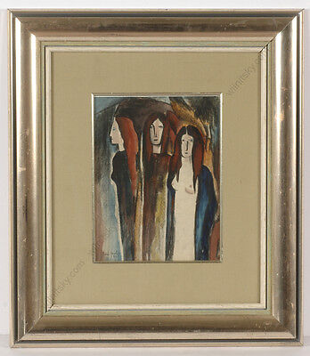 "Boris Deutsch 1927 1892-1978 ""three Female Figures"" Watercolor"