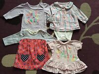 4 x Baby Girl's Tops 0-3 Months bundle job lot clothes clothing