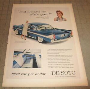 """1958 Blue DE SOTO 10.5"""" x 14"""" Life Magazine 1-Page Ad - Chrysler - Jeanne Crain"""