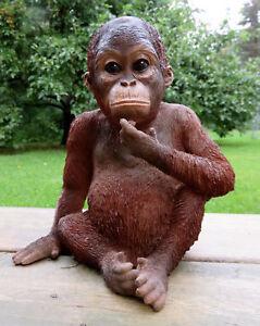 Details about Orangutan Sitting Statue Figurine Jungle Animal Monkey Decor  Resin 9 inches Ape