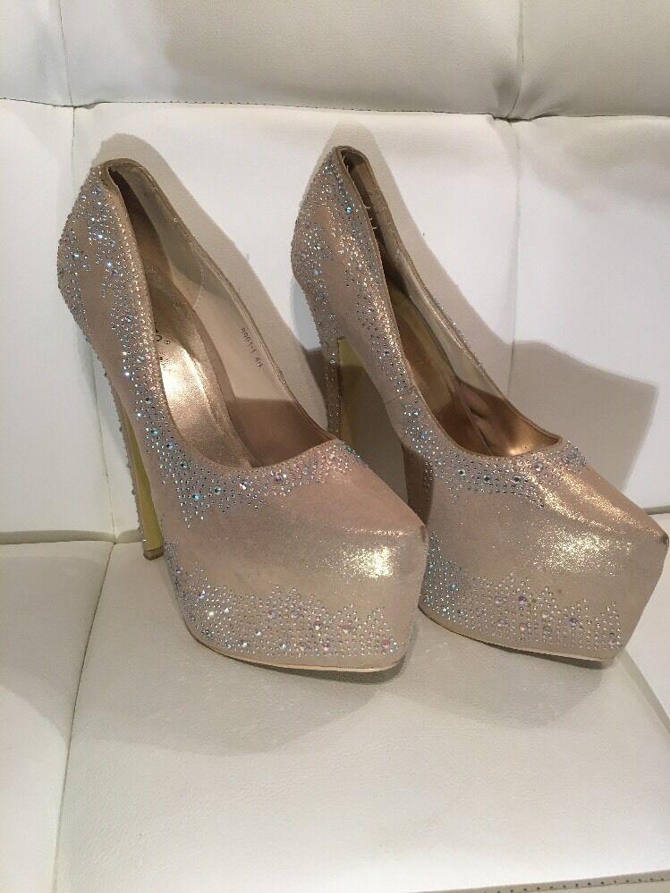 Crystal Diamanté Shimmer Platform Heels 40 7 Shimmer Diamanté 34c56c