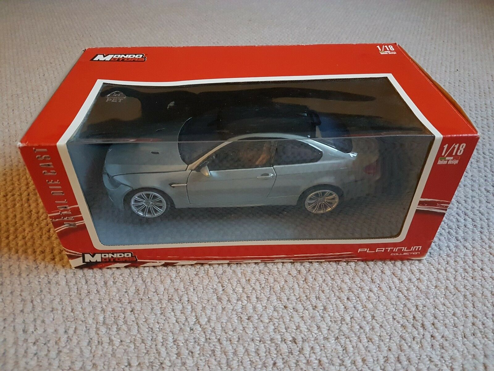 BMW M3 Coupe E92 Metallic Grey Die-Cast Scale Model 1 18 In Original Box - Mondo