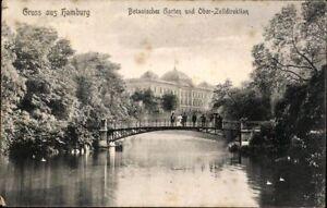Postkarte AK sw Gruss aus Hamburg Botanischer Garten Ober-Zolldirektion gel 1907