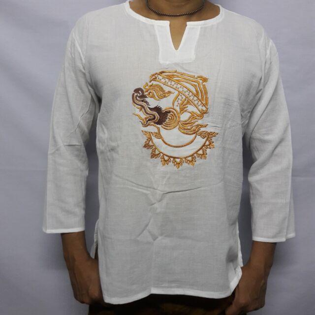 a18a61feddb Men s Summer T-Shirt 100% Cotton Thai Hippie Shirt Beach Yoga Top White V