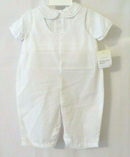 Petit Ami 1Pc Longalls /& Hat 5622 Short Slv Layer Look Embroidery Wht NB #10398