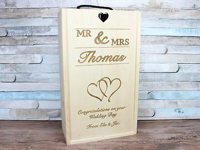 Collezione Qui Vino Matrimonio In Legno Personalizzato Regalo Mr & Mrs Doppia/2 Bottiglie-mostra Il Titolo Originale