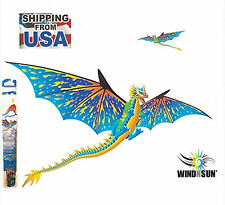 "Dragon Kids Kite 3-D RipStop Nylon + 76"" wide + Tails + Line + Quick Clip"