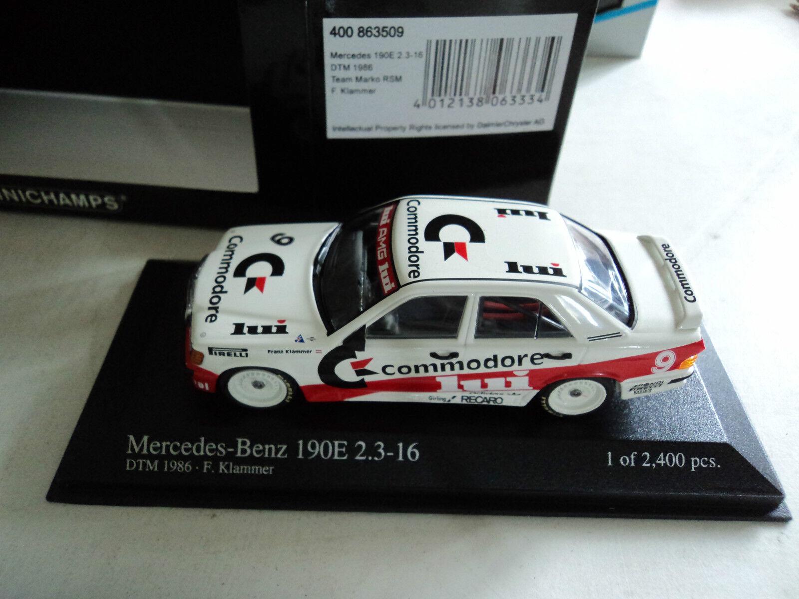 Minichamps 1 43 Mercedes-Benz Mercedes-Benz Mercedes-Benz 190E 2.3-16  9 DTM 1986 F. Klammer 70dc75