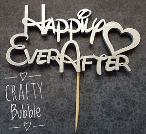 Happily-ever-after-wedding-cake-topper-SILVER-Dis-Font