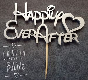 Happily Ever After Wedding Cake Topper Silver Dis Font Ebay