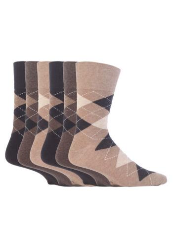 6 pairs Mens SockShop Cotton Gentle Grip 6-11 uk Sock Argyle Neutrals RJ41