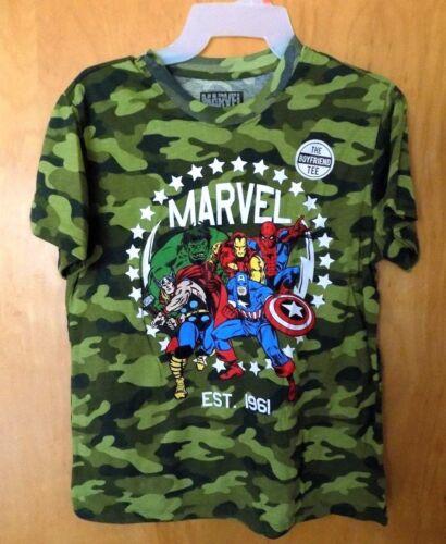 New Juniors Medium Camo Marvel T-Shirt Spider-Man Iron Man Thor Hulk
