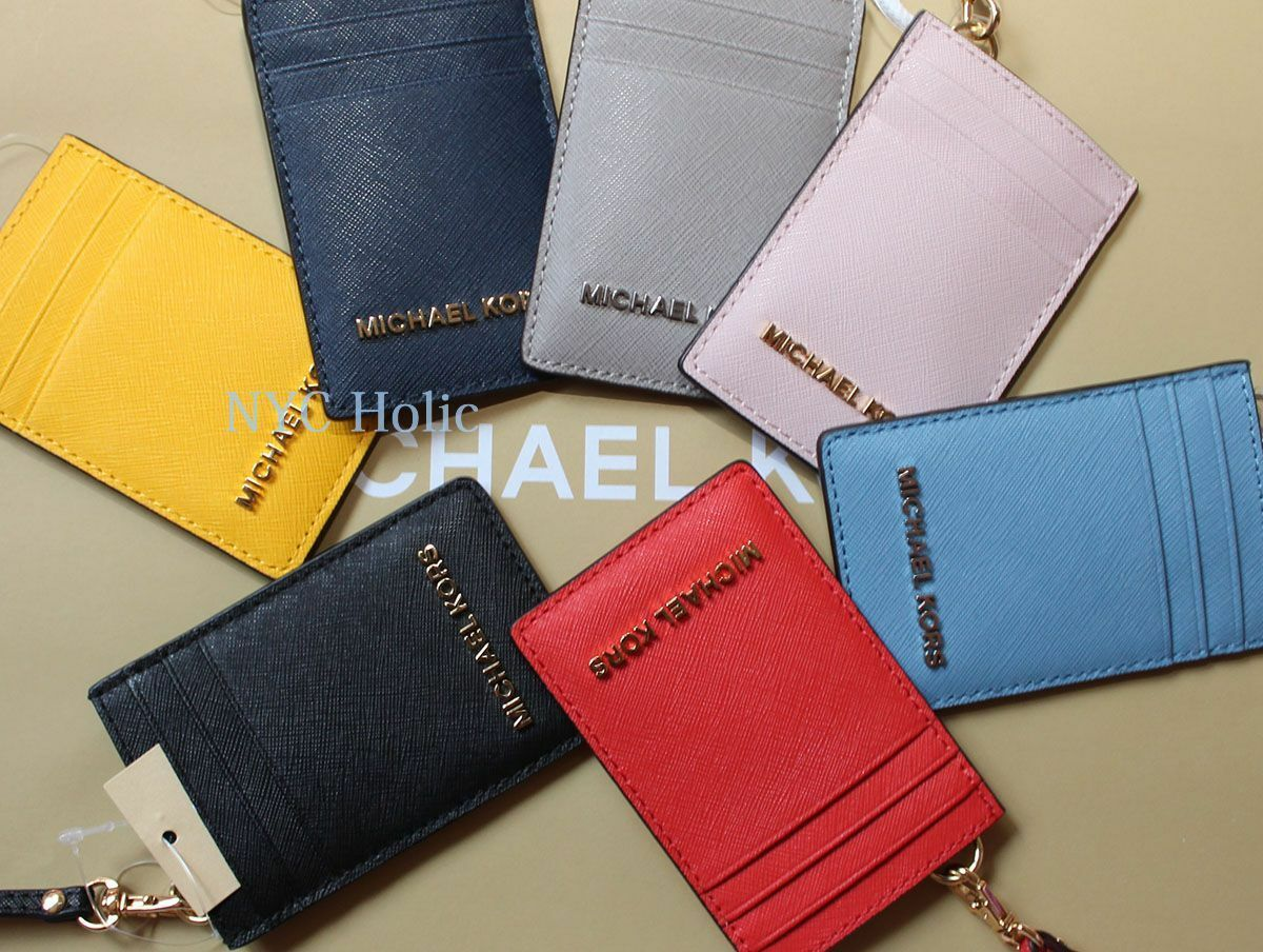 17d5f7f9010f ... Lanyard Leather Card Case New Michael Kors Jet Set Travel ID Badge  Holder Necklace Style 35t7gtvd5l MSRP 108 ...