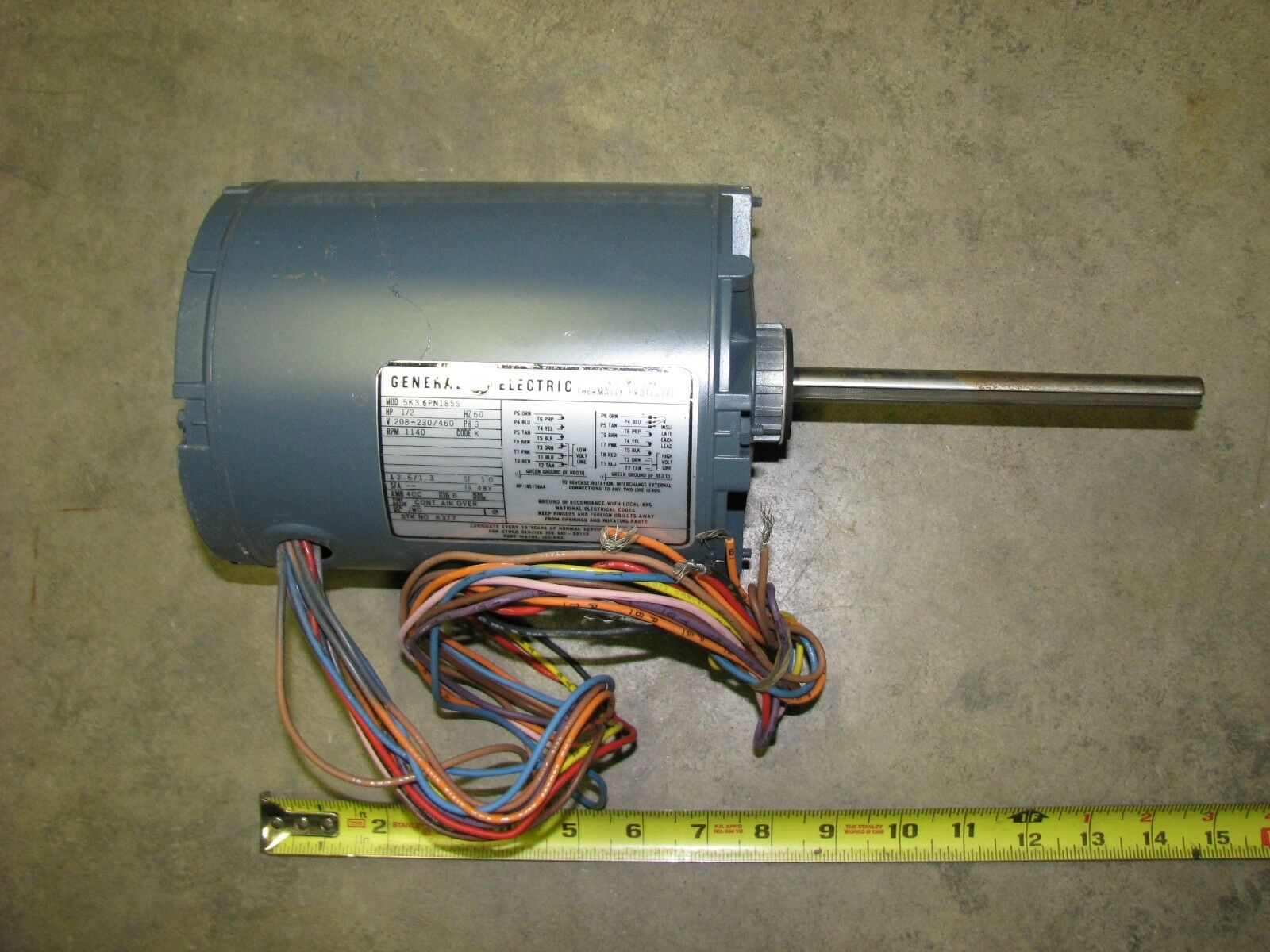 GE General Electric Motor 1/2 HP 1140 RPM 5K36PN185S 230/460 Volt AC 3 Phase