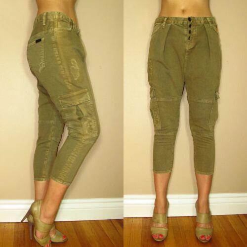 $198 Hudson Subversion Harem Drop Crotch Cargo Army Green Distressed Jeans 27