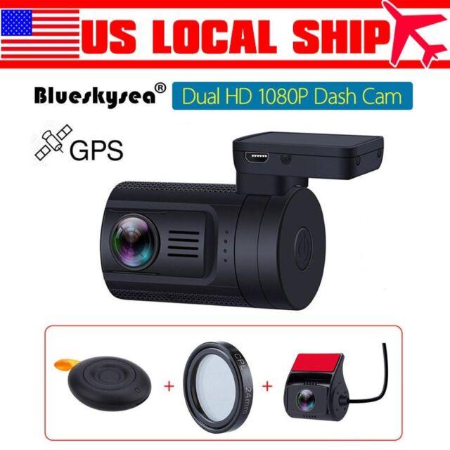 Mini 0906 Dual 1080P Lens HD Car Dash Camera GPS Sony IMX322 Remote Control+CPL