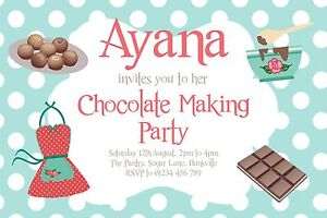 Image Is Loading 10 PERSONALISED CHOCOLATE SWEET MAKING PARTY INVITATIONS BIRTHDAY