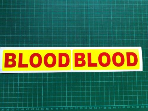 Reflective Blood STICKER Bike Runners Helmet Faring Dayglo Yellow Red 145mm x2