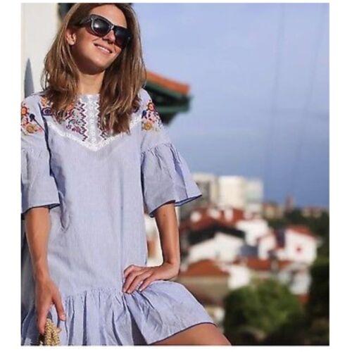 BNWT UK 6//8//10//12//14 Zara Blue Striped Embroidered Dress Size XS//S//M//L//XL