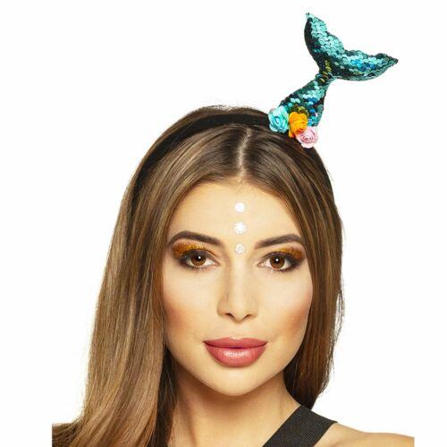 Ladies Girls Mermaid Tail Tiara Blue Sea Siren Sequin Headband Party Accessory