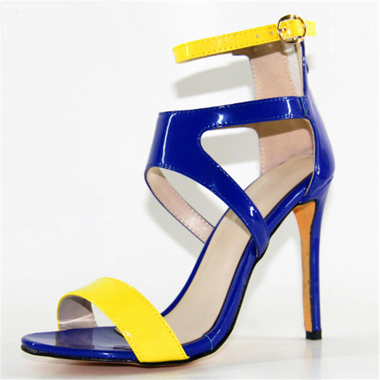 Women Open Toe Strappy Sandal Yellow Blue Yellow Sandal Patent Leather High Heel Summer Shoes 123c47