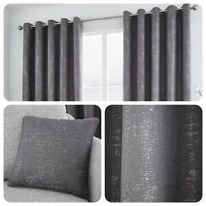 Curtina-SOLENT-Graphite-Metallic-Jacquard-Eyelet-Curtains-amp-Cushions
