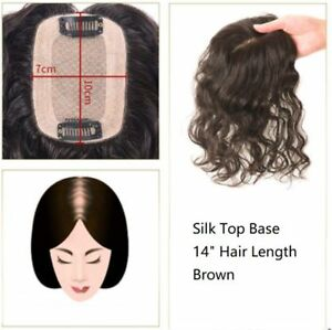 223b37d7069 Details about 7cmx10cm 100% remy human hair silk top wavy curly topper  wiglet hairpiece 8