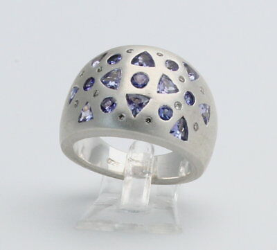 925er Silber-ring Mit Tansaniten Und Brillanten Für Damen In Ring Größe 56