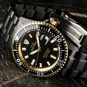 detomaso san remo mens diving watch black gold plated automatic 30 image is loading detomaso san remo mens diving watch black gold