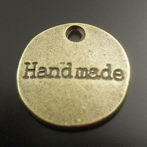 55X-Antique-Style-Bronze-Tone-Alloy-Round-Pendant-Charms-14-14-2mm