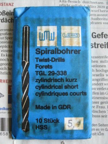 10 WERKÖ Spiralbohrer d= 5,7 Twist-Drills TLG 29-338 zylindrisch-kurz HSS