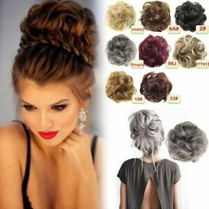 Real-Natural-Curly-Messy-Bun-Hair-Piece-Scrunchie-Hair-Extensions-Chignon-Grey