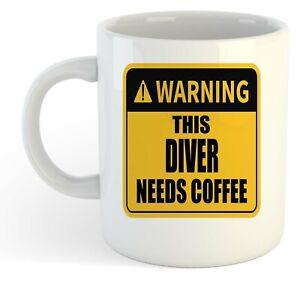 Warning-Esta-Buzo-Necesita-Cafe-Blanco-Taza-Regalo-Trabajo-Regalo