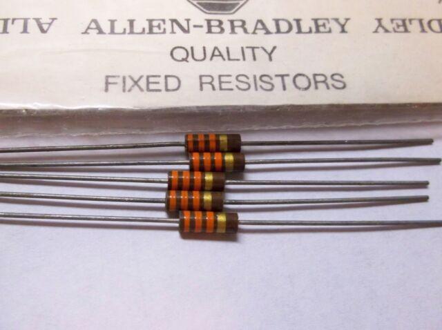 5 Allen Bradley Carbon Comp Resistors 33k 1/2W 5%  EB3335 RC20GF333J