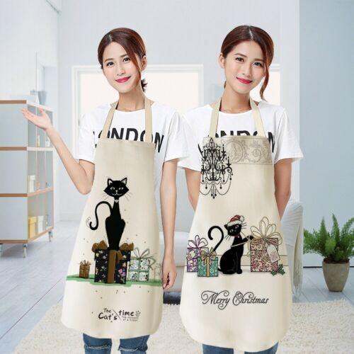 Waterproof Women Colorful Cute Cat Cotton Linen Apron Kitchen Cooking Bib Aprons
