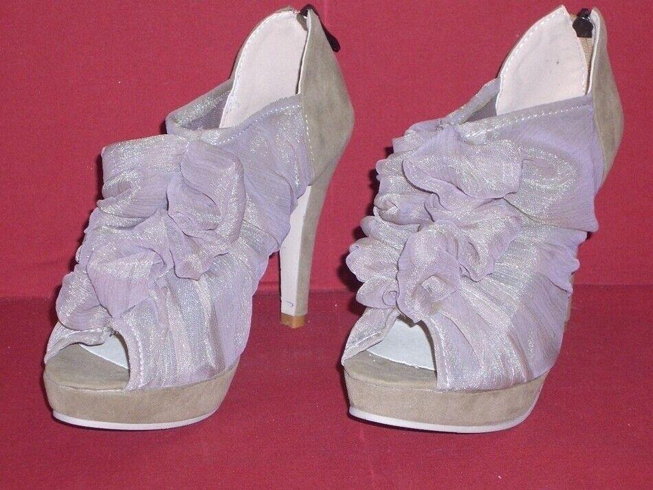 Summery Ruffle High Heels Peeptoes Peeptoes Peeptoes Beige Size 40 Sji New 171f3a