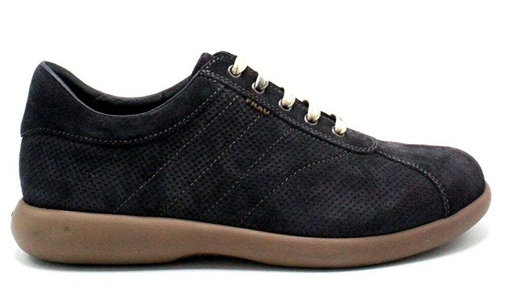 Frau 27a2 bluee Men's shoes Sneakers Velour Lace-Up Leather Suede Fabric Loafers