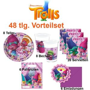 48 tlg vorteil set trolls dreamworks party kinder geburtstag deko teller becher ebay. Black Bedroom Furniture Sets. Home Design Ideas